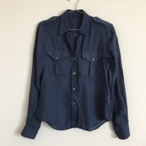 Theory Ramie Button Down Safari Shirt Navy Sz XS
